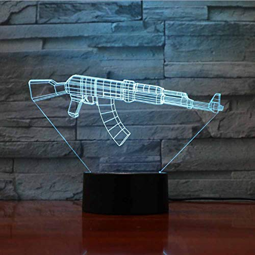 Illusion Optical Lamps 3D Art Gun Sculpture Lights 7 Cambiamento Di Colore  Touch Switch Led Desk Table Night Light