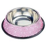 SAVORI 10 Zeilen Bling Bling Strass Metall Edelstahl Single Fressnapf / Pet Feeder 200ML für Tiere, Welpen, Katzen (Rosa)
