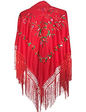 La Señorita Mantones bordados Flamenco Manton de Manila rojo con rosas rojo