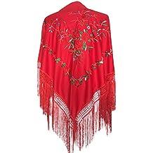 La Señorita Mantones bordados Flamenco Manton de Manila rojo con rosas rojo f9385ec98e0