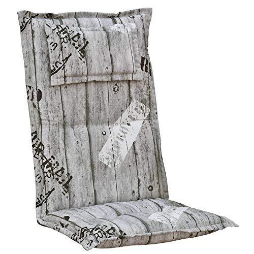 Kettler Polen K778 Gartenpolster mit Kopfkissen in grau gestreift Sessel Auflagen Polster Kissen (1)