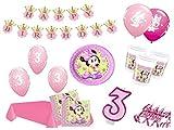 XXL Party Deko Set 3.Geburtstag Minnie Baby Kindergeburtstag für 16 Personen 67 teilig rosa Mädchen