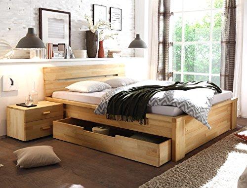 Massivholzbett Caspar + Nachttisch Kernbuche geölt Stauraumbett Holzbett Bett Nachtkonsole Nako Schlafzimmer, Liegefläche:140 x 200 cm;Set-Inhalt:Bett - 2