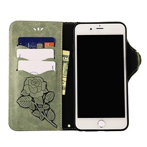KM-WEN® Schutzhülle für Apple iPhone X (5,8 Zoll) Bookstyle Retro Blumen Muster Prägung Ledertasche mit Strap Magnetverschluss PU Leder Wallet Case Flip Cover Hülle Tasche Schutzhülle mit Standfunktio Grün