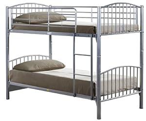 Birlea Corfu 3ft Single Metal Bunk Bed, Cream