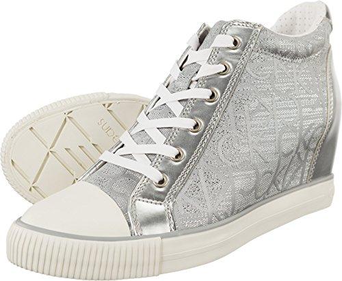 Calvin Klein Jeans Ramona Metallic Jacquard LSV Damen Turnschuhe (Silver) Grau