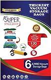 Super Platzsparend 6 Jumbo-Vakuumbeutel, 120 Mikron (50% Dicker als andere Marken) mit Doppelreißverschluss, luftdicht, wiederverwendbar für Kleidung, Bettdecken, Kissen, Decken, Reise-Handpumpe