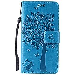 Lomogo LG/Google Nexus 5X Hülle Leder, Schutzhülle Musterprägung Brieftasche mit Kartenfach Klappbar Magnetverschluss Stoßfest Kratzfest Handyhülle Case für LG Nexus 5X (H791) - EKATU23703 Blau