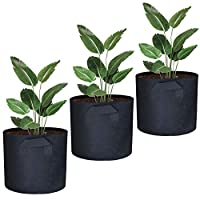 AWNIC Grow Bags for Vegetables Planting Bags Breathable Durable Non-woven Fabric 5.8 GallonØ35X30cm [3-Pack]