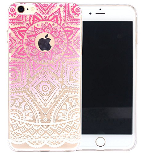 JIAXIUFEN Neue Modelle TPU Silikon Schutz Handy Hülle Case Tasche Etui Bumper für iPhone 6 Plus, iPhone 6S Plus, iPhone 6+, iPhone 6S+, White Mint Tribal Mandala Color10