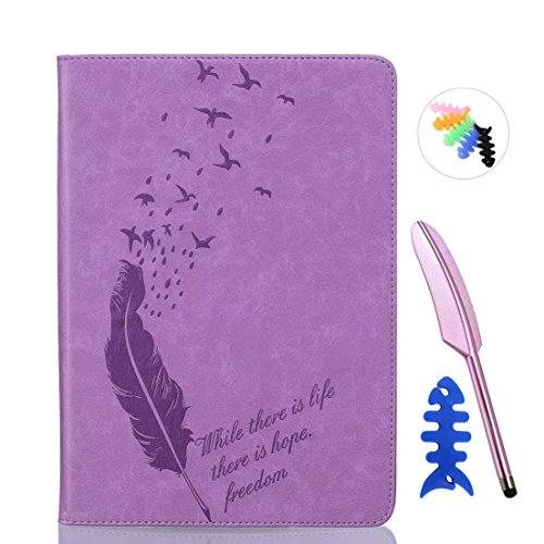 ANNN® iPad Air 2/iPad 6 Solide Drucken(Dayan Feather) PU Leder Flip Wallet Schutzhülle mit Magnetverschluss - Bookstyle Hülle mit Standfunktion und Kartenfach als stabiler Schutz--B05