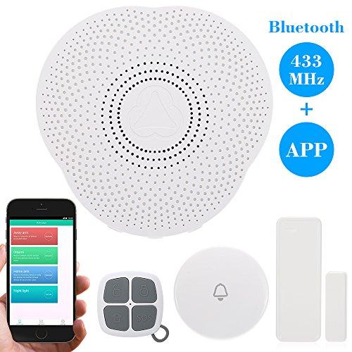 KKmoon 433MHz Wireless Bluetooth Smart Campanello Sistema di Allarme Supporto