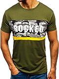 BOLF Hombre Camiseta de Manga Corta Estampada Cuello Redondo Print Estilo Casual J.Style 10812 Verde XL [3C3]