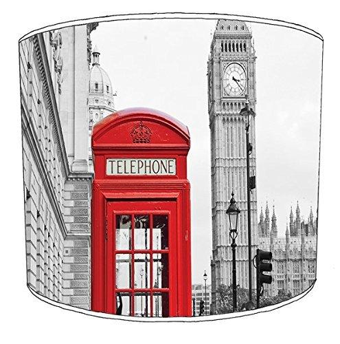 20.3cm Tisch london thema telefonzelle roter bus big ben druck lampenschirm 8 - 25cm (Rot Lampenschirm Drum)
