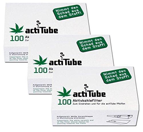 300 actiTube Aktivkohlerfilter (3x100). Mehr Rauchgenuss durch Aktivkohle (Aktivkohlefilter Für Die Bong)