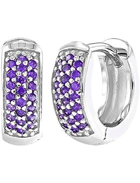 In Season Jewelry Mädchen - Creolen Ohrringe Kleine Breit 925 Sterling Silber Lila CZ Zirkonia 8mm