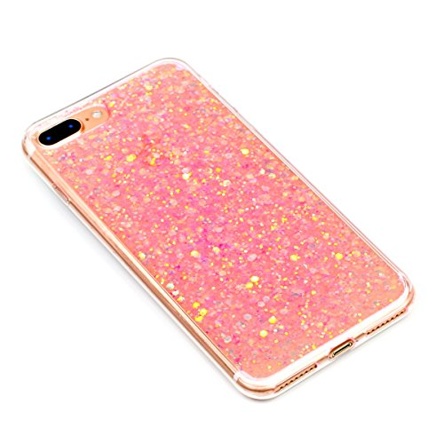 "MOONCASE iPhone 7 Plus/iPhone 8 Plus Hülle, Bling Glitter Weich TPU Handyhülle Ultra Slim Anti-Kratzer Stoßfest Schutz-tasche Case für iPhone 7 Plus/iPhone 8 Plus 5.5"" Golden Rosa"