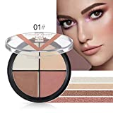 Allbesta 4 Farben Highlighter Make-up Palette Lidschatten Contour Cream Haut Aufhellen Base Glow Kit Illuminator