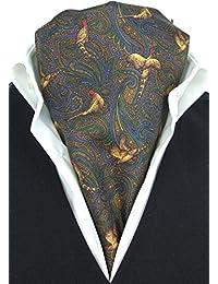 Elegant Pheasant on Brown Fine Silk Cravat