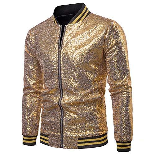 Vanornia Glitter Bombers Jacket Herren Zip Langarm Shiny Kleidung für Animationszeremonie(Gold XL)