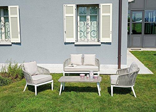 PEGANE Ensemble de Jardin Coloris Blanc et Gris en Aluminium