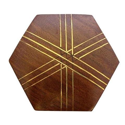 indien fait à la main Mini hexagonal en bois Boîte à bijoux incrustations en laiton–Criss Cross