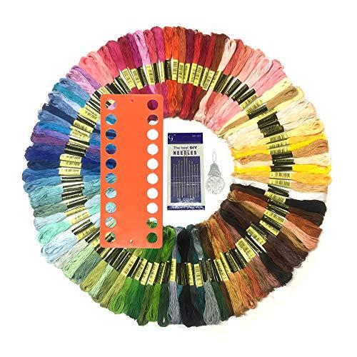 Wartoon Stickgarn, MultifarbenEmbroidery Thread Nähgarne Stickerei Set für Kreuzstich Basteln Freundschaftsbänder(zufällige Farbe) (100 Farben) -