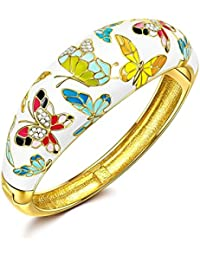 "Pauline & Morgen ""Spring of Versailles"" Enamel Butterfly Gold Plated Crystal White Women Bracelet"