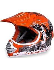 Motorradhelm X-treme Kinder Cross Helme Sturzhelm Schutzhelm Helm für Motorrad Kinderquad und Crossbike in orange