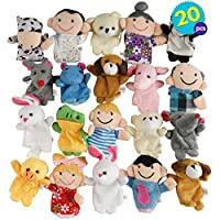 20pcs Finger Puppets | Animal Plush Puppet | Story Show Soft Mini Velvet Dolls | Toy Hand Props Play | Birthday Christmas Party Bag Favours Pinata Fillers | Halloween Goody Trick or Treat
