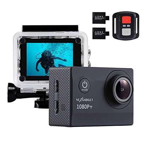 NEXGADGET 4k Action Kamera WIFI 1080P 12MP Wasserdichte Action Cam 170 Grad Ultra Weitwinkelobjektiv mit Fernbedienung und 2 Stück Wiederaufladbare Batterien DISCOVER-1012FS SERIE, Schwarz (900-serie-fernbedienungen)