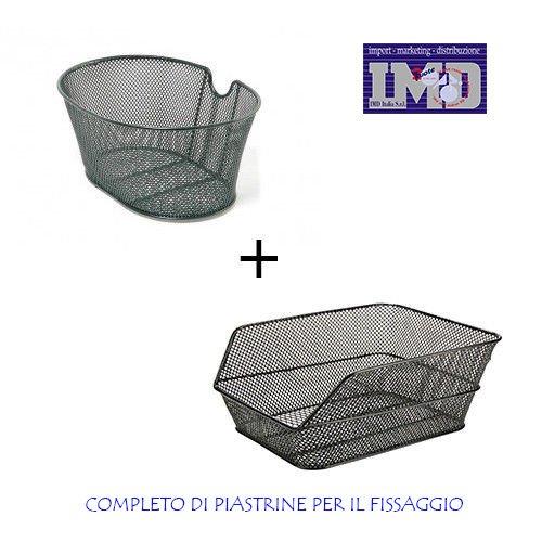 Cesto cestino anteriore + posteriore in ferro compreso di piastre di fissaggio per bicicletta - colore nero