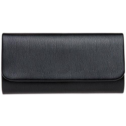 CASPAR TA371 Damen Baguette Clutch Tasche Abendtasche, Farbe:schwarz, Größe:One Size