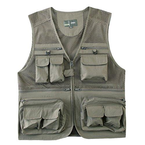 Zhhlinyuan Mens Lightweight Soft Practical Outdoor Photography Vest Waistcoat Gilet Light Khaki