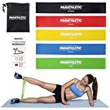 Fitnessbänder / Widerstandsbänder, 5er Set von Panathletic, mit Anleitung, eBook und Tragebeutel – 5x Fitnessband, Widerstandsband, Gymnastikband, Trainingsband, Übungsband, Fitness Band, Gymnastikbänder, Trainingsbänder, Loop Bänder, Mini Bands, Übungsbänder