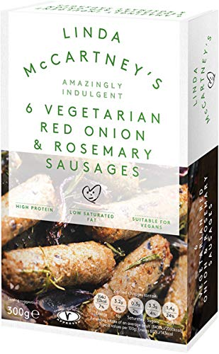 LINDA McCARTNEY Vegetariana cebolla roja y romero salchichas 300 GR (Pack de 1)
