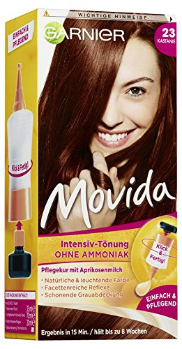 Garnier Tönung Movida Pflege-Creme / Intensiv-Tönung Haarfarbe 23 Kastanie (für leuchtende Farben, auch für graues Haar, ohne Ammoniak) 3er Pack Haarcoloration-Set