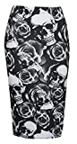 : Baleza Womens Ladies Bodycon Animal Cross Skull Wow Print Pencil Skirt Midi Calf Length Normal and Plus sizes (8-26)