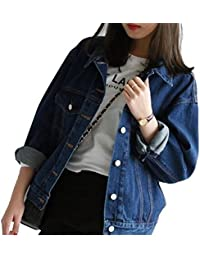 OMUUTR Damen Jeansjacke Jacket Mantel Coat Lose Herbst und Winter  Beiläufige BF Denim Single Breasted Kragenlose bf9c290320