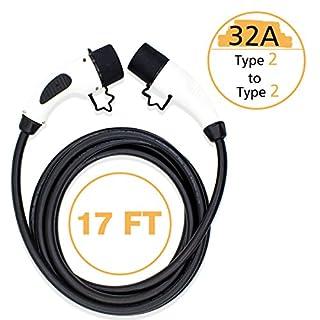 MAX GREEN Tragbares EV-Verlängerungskabel für Elektro-Kfz-Ladekabel, Typ 2 auf Typ 2, 16 Ampere/32 A, 17 ft