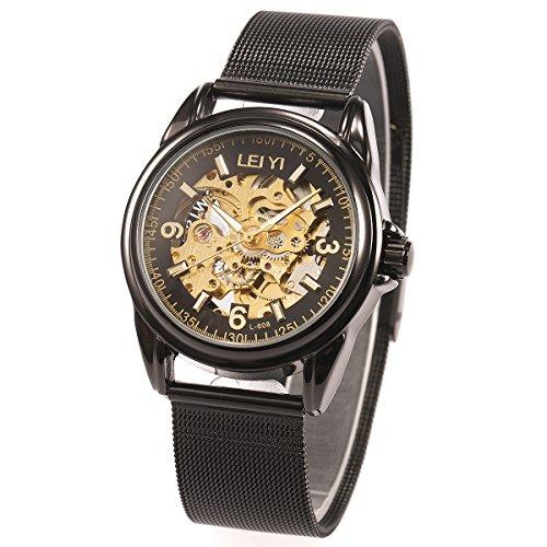 Armbanduhr - schwarz Mesh Gürtel ManChDa Herren Edelstahl Automatische mechanische Skelett Gold Zifferblatt + Geschenk-Box