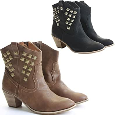 Womens Cowboy Booties Low Heels Shoes Medium Ankle Boots Size 3 - 8