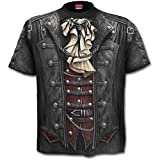 Goth Wrap Spiral Direct Allover Steam Punk Rock Metal Gothic Waistcoat T-Shirt Up To XXL -