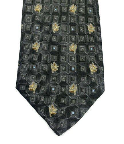 Real Luxury Napoli - Cravatta 7 Pieghe Foderata, Seta Fondo Grigio Scuro Con Quadri Concentrici Fiore Oro, Punto Celeste