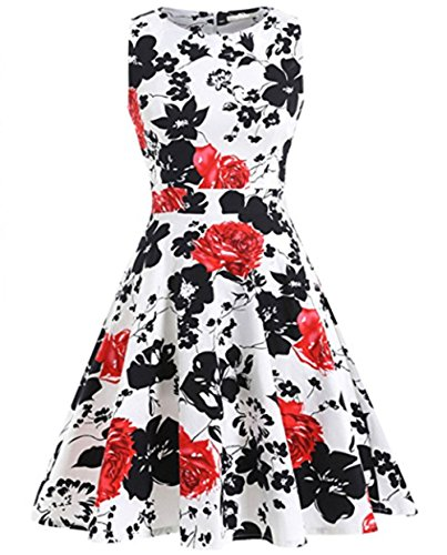 YARBAR Donne Vintage Floreale Vestito in Stile anni 1950 Wiggle Dress