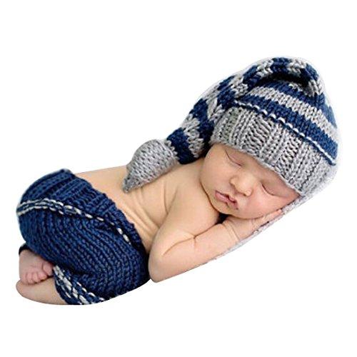 ie Prop Jungen Kinder Baby Kostüm Nette Gentleman Stricken Handarbeit Sets 2tlg. Häkel Hut + Hose (Blau Streifen) (Nette Herren Halloween Kostüme)