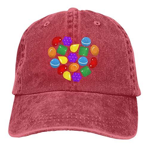 Hip Hop Cowboy Baseball Cap,Candy Crush Saga Curved Plain Sun Hats Black