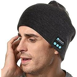 sunnior música Bluetooth gorro de punto con auriculares inalámbricos auriculares eliminación altavoces micrófono manos libres para correr esquí patinaje senderismo Christmas gifts,–gris claro, hombre, Deep Gray