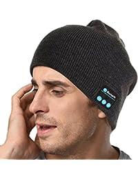 sunnior música Bluetooth gorro de punto con auriculares inalámbricos  auriculares eliminación altavoces micrófono manos libres para 21de01527154