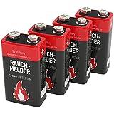 ANSMANN Batterie speziell für Rauchmelder Feuermelder Brandmelder CO-Melder Longlife Alkaline 9V E-Block (4er Pack) 6LR61 6AM6 MN1604 Rauchmelderbatterie 7 Jahre lagerfähig